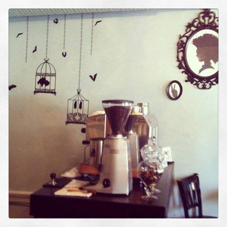 Davenport's Cafe Diem: The mural behind espresso machine.