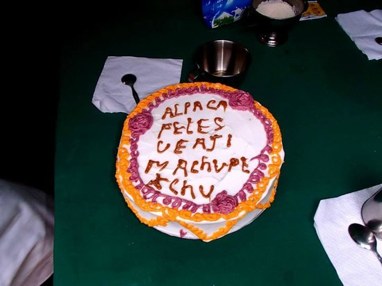 Alpaca Expeditions: Our 'you did it' cake! Made from scratch in the mountains by Marcus (Super Chef!)