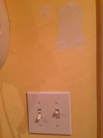 The Fitzgerald Hotel: Unfinished paint in bathroom and encrusted dirt on light switch