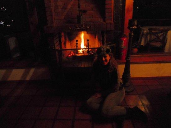 Posada Don Elicio: Fabulosa chimenea en la sala...........