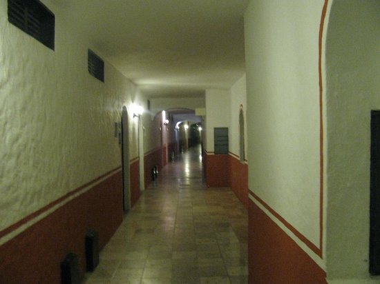Hacienda Buenaventura Hotel & Mexican Charm All Inclusive: the echoing hallway where they used a power washer 2 days in a row to clean the walls!!