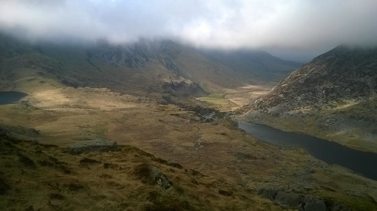 YHA Idwal Cottage: view of Ogwen from Tryfan