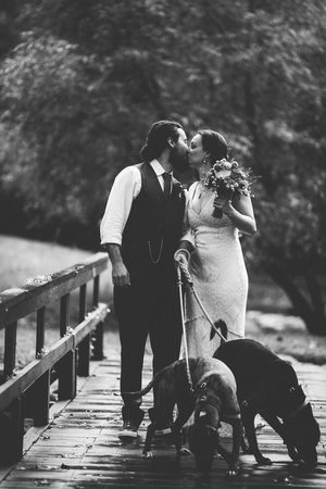 Greenville, WV: Couple with dogs on Wedding Bridge at Creekside