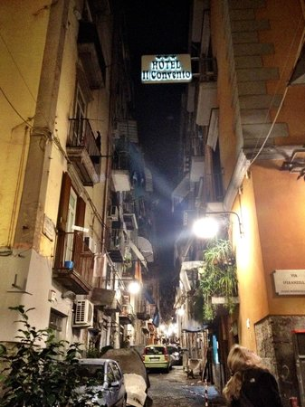 Hotel Il Convento: Street scene with hotel's sign