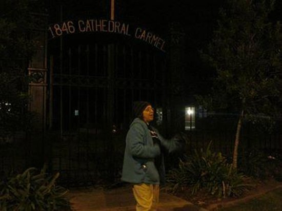 Old Town Spring Ghost Tours : Ghostly hand reaching out from beyond on Cathedral Tour in Lafayette