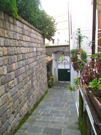 La Magnolia: View down the alleyway to the gate on the street