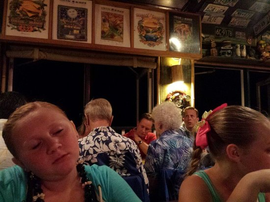"Cheeseburger In Paradise : Here was the table we waited 45 minutes for that had the ""view of the ocean"". The one behind is"