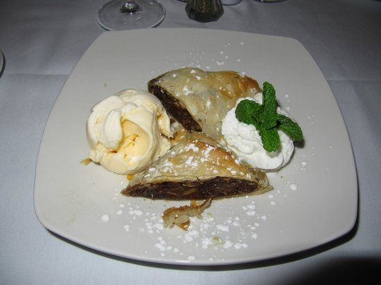Miro's Restaurant: Apple Strudel with Homemade Vanilla Ice Cream