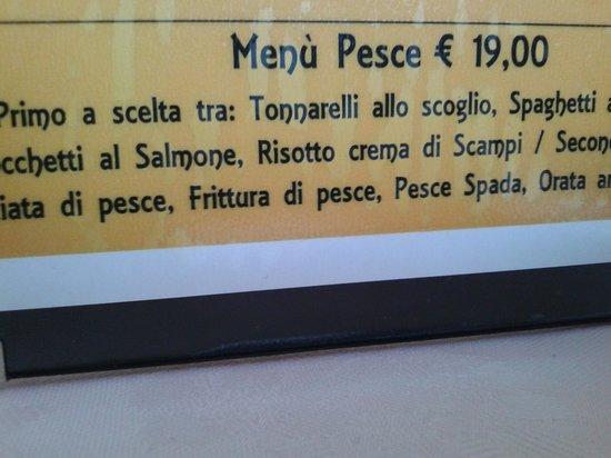 Eredi di Baldazzi Renato: costo menù pesce