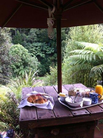 Rangimarie Bush Retreat: Breakfast with a view! At Tawa Lodge