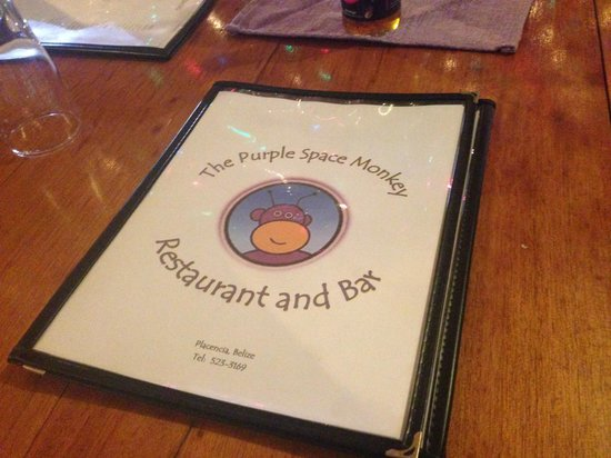 The Purple Space Monkey Bar & Grill : Menu on one of their beautiful wood tables