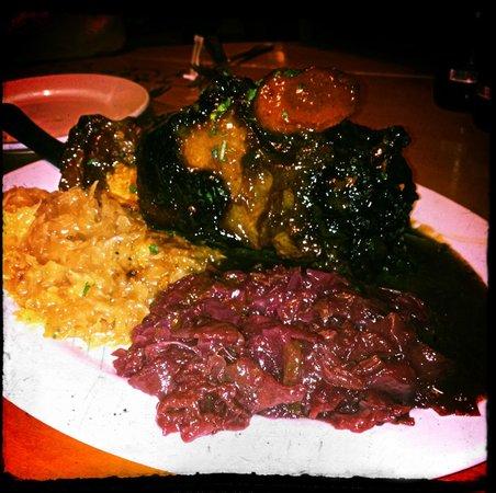 Cypress Nook Bavaria Haus Restaurant : Pork Shank with Red Cabbage & Kraut