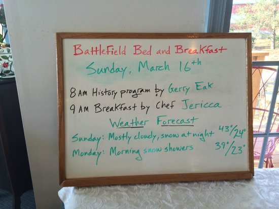 Battlefield Bed and Breakfast Inn: Morning accouncements