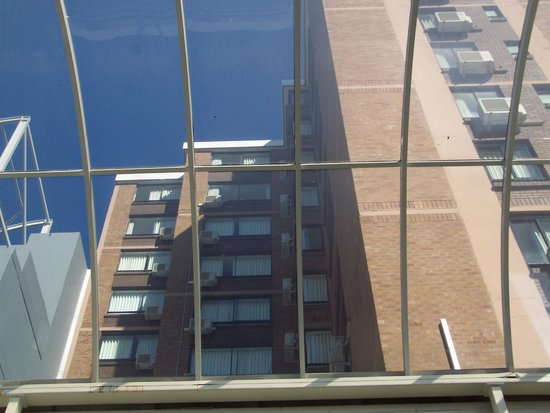 Cambridge Hotel Sydney: View looking up at my husband in the window on 13th floor from the pool area.