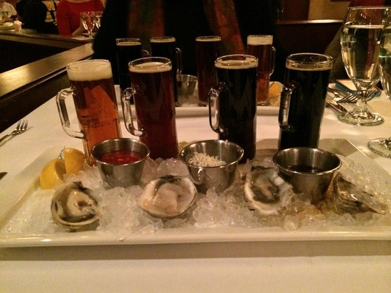 "The Brooklyn Seafood Steak & Oyster House : A ""flight"" of oysters and beer"