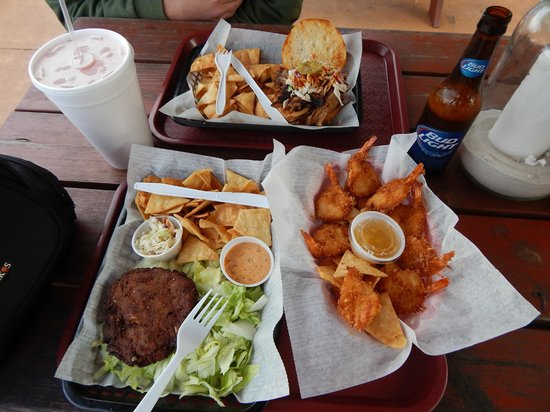 Crabby Chris: Pulled pork sandwich, crab cake, coconut shrimp