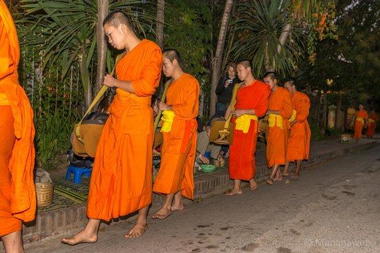 Old Quarter Luang Prabang : Monks collecting breakfast