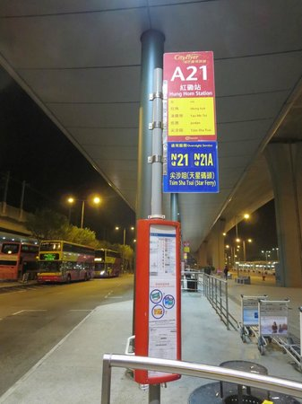 Eaton, Hong Kong: Airport bus A21 bus stop at Hong Kong Airport bus terminal