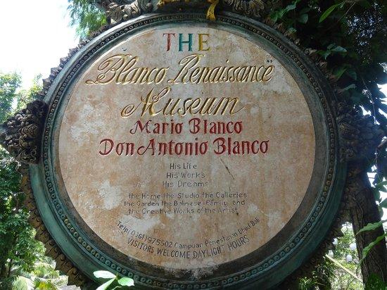 Don Antonio Blanco Museum: Вывеска при входе