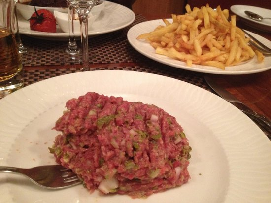 La Cloche d'Or : Steak Tartare, Fries, and Pigs Cheeks barely visible