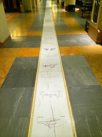 The King David: The marble strip of guest signatures in the Lobby