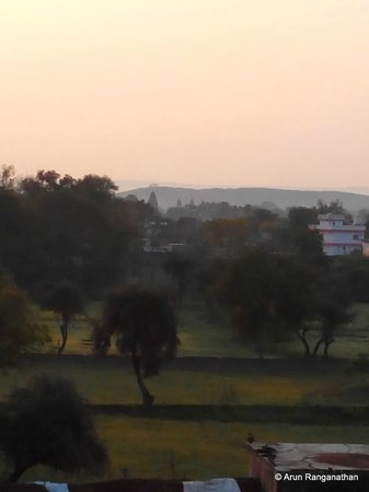 Zen Hotel: View of the Jain temples in the far distance from the balcony.