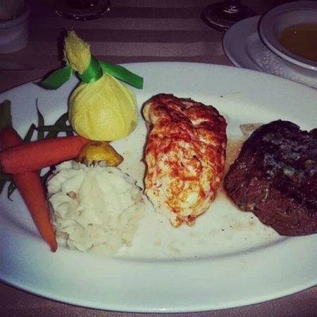 Sterling's Seafood Steakhouse : Filet and Lobster tail w/garlic mashed potatoes