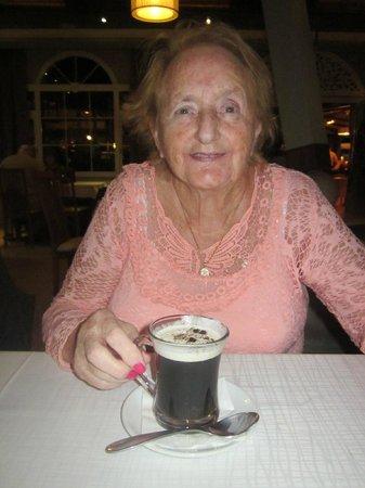 Empire Modern British Restaurant & Steak House: Mum enjoying Irish coffee