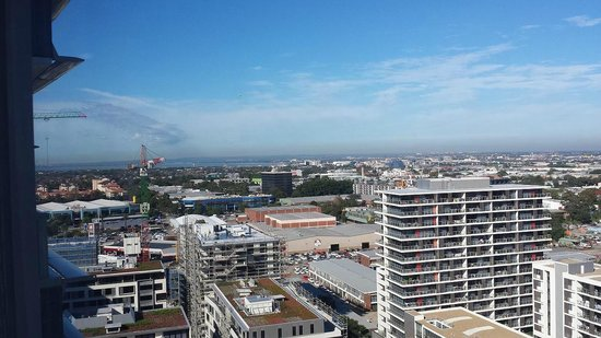 Meriton Suites Zetland: view to south west towards airport and botany bay