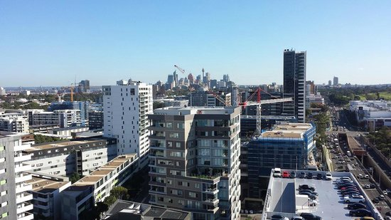 Meriton Suites Zetland: view to north west of sity with centrepoint tower right in centre of pic