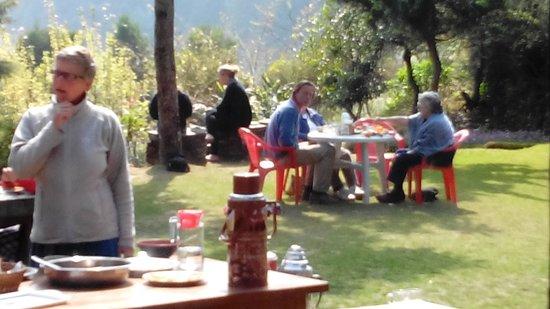 Shivapuri Village: Our Guests enjoying their Breakfast