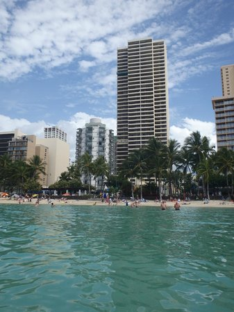 Aston Waikiki Circle Hotel : View of hotel from the water!