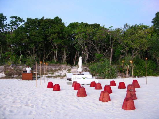 Amanpulo: Private Beach barbecue with bonfire
