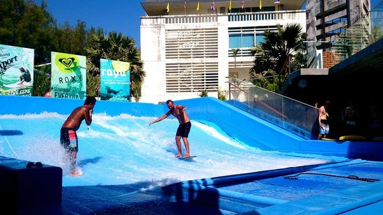 Learning to surf at Kata Beach Surf House - Picture of Surf House Phuket - Ka...