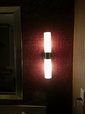 Hotel Zero Degrees: Wall fixture and deco in Bathroom accessible in common area.
