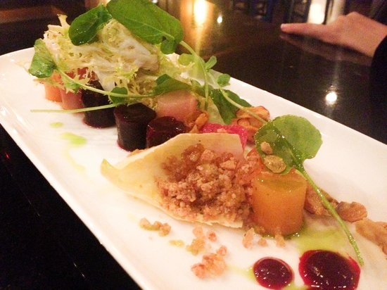 Nita Lake Lodge : Heirloom Beets with endive and the most delicious candied nut crumble