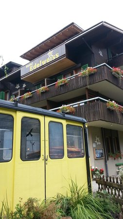 Hotel Edelweiss: Outside with old Ski Cable Car