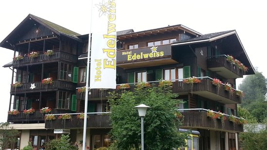 Hotel Edelweiss: Front of EdelWeiss with Banner - good shot