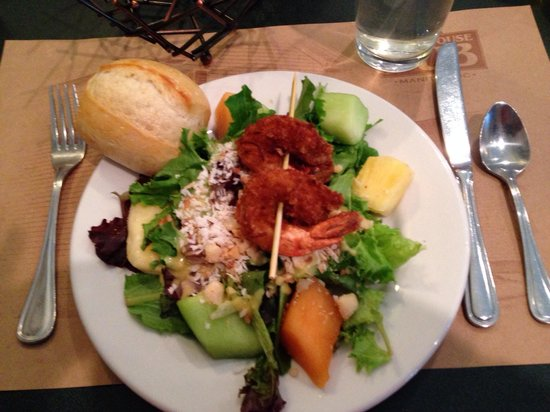 Courthouse Pub: This is half of a Malibu coconut battered shrimp salad my husband and I shared at lunch.
