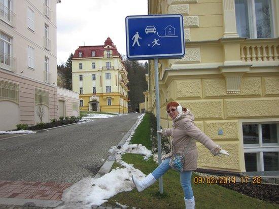 Orea Spa Hotel Palace Zvon: Интересный знак в курортной зоне.