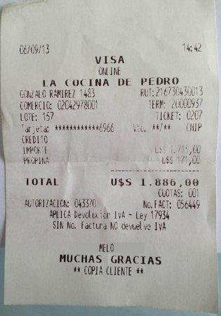 La Cocina de Pedro: Comprovante de Cartão em U$S ( Dólar )