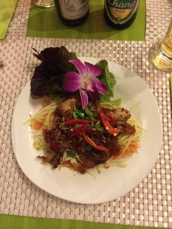 Green Mango salad with fried soft shell crab