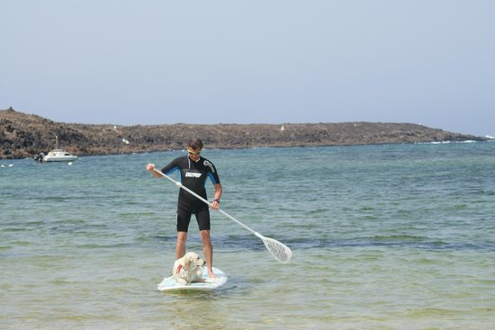 Corralejo Dunes: pierre en evita paddleing in majanicho