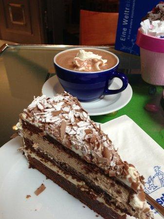 Banana torte and hot chocolate