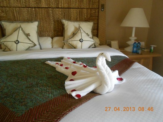 The Oberoi, Mauritius : again. we had a homemade swan awaiting us on our bed
