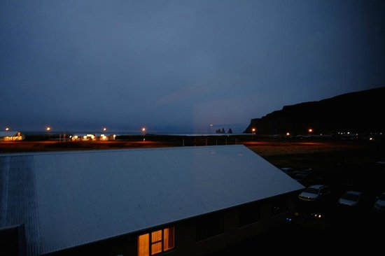 Hotel Edda - Vik i Myrdal: The view out our window before sunrise, looking towards the beach