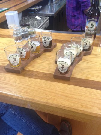 Rock Art Brewery : The sampling room is actually in the gift shop, I bought a small growler, there is no food optio
