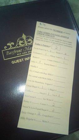 Bayfront Marin House Historic Inn: Breakfast card!