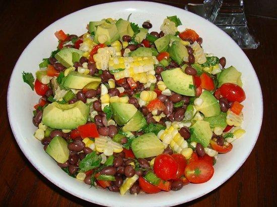 Yukawala: Mixed salad (avocados, beans, tomatos, corn, herbs)