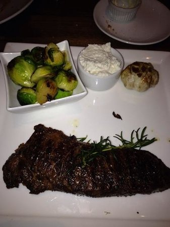 Lark Creek Blue: ny steak with brussel sprouts